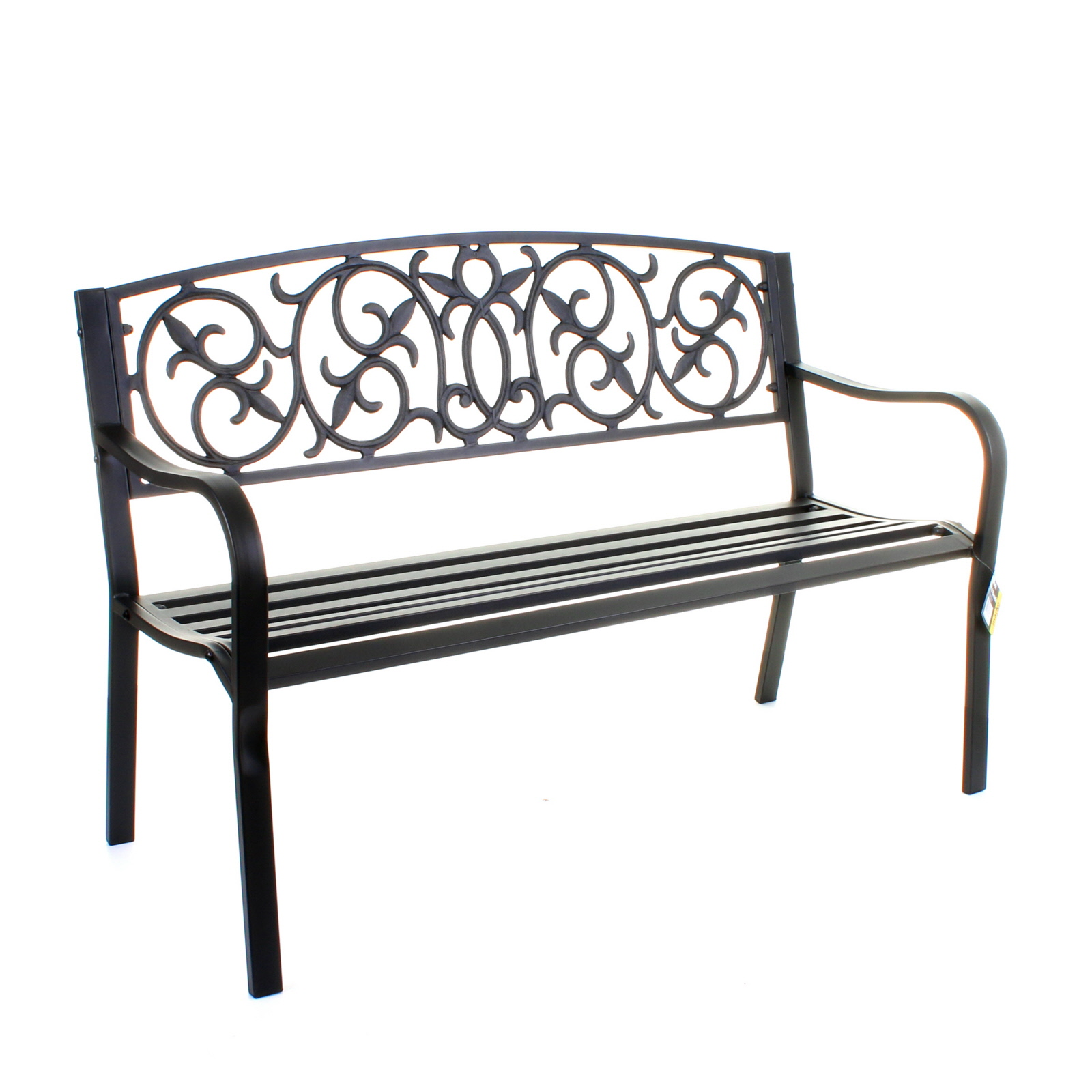 Garden Metal Bench 3 Seater Cast Iron Backrest Outdoor Furniture Home