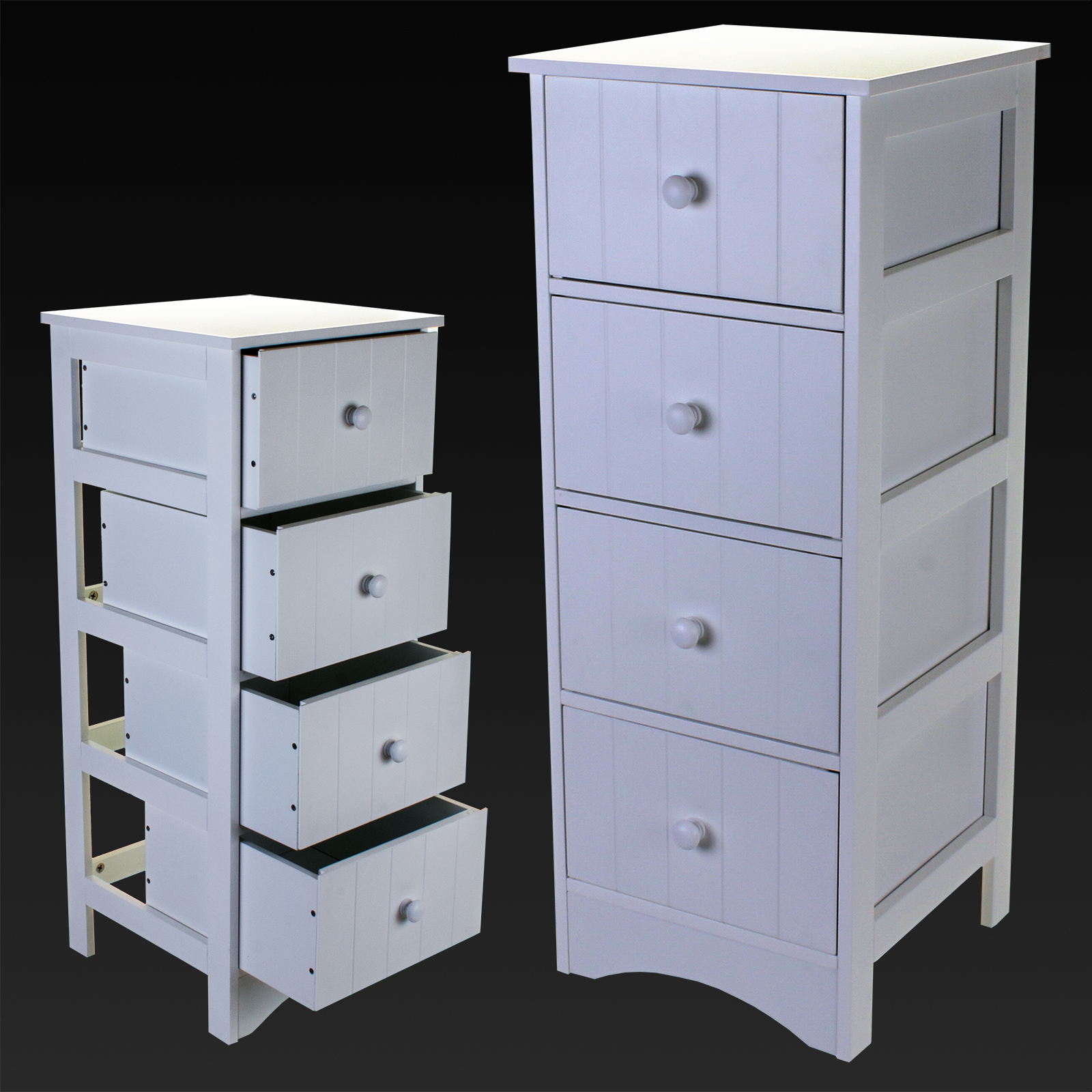 4 drawer cabinet storage unit white wooden bathroom chest for White bathroom drawer unit