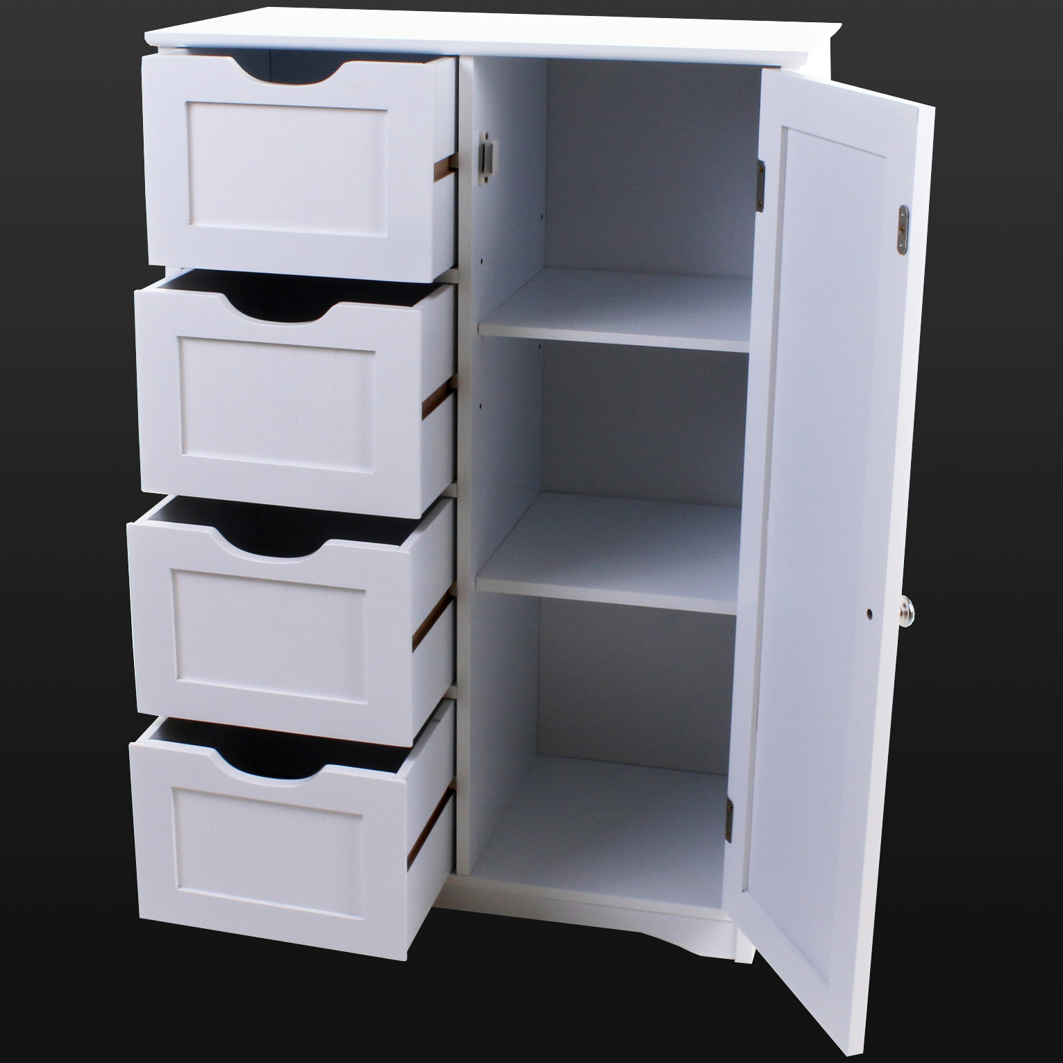 4 drawer bathroom cabinet storage unit wooden chest cupboard white door draw new ebay Wooden bathroom furniture cabinets
