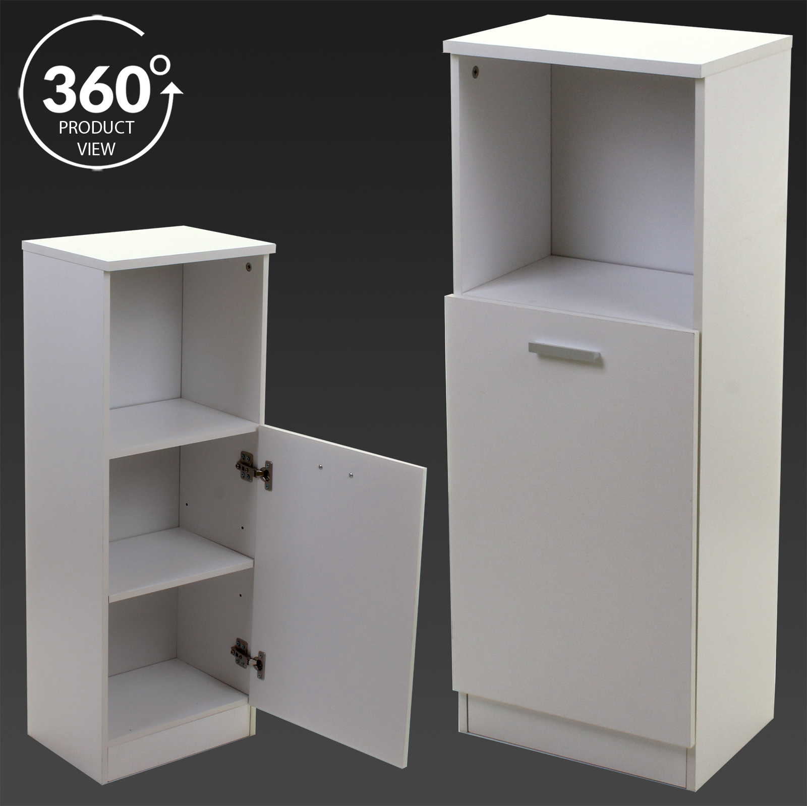 White wooden bathroom cabinet shelving storage unit for Wooden bathroom shelving unit