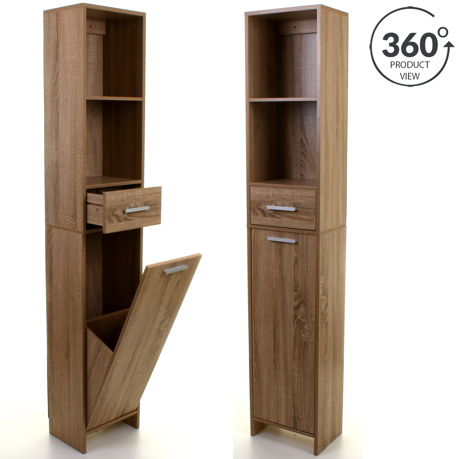 Tall boy wooden storage unit cupboard cabinet shelving for Wooden bathroom shelving unit