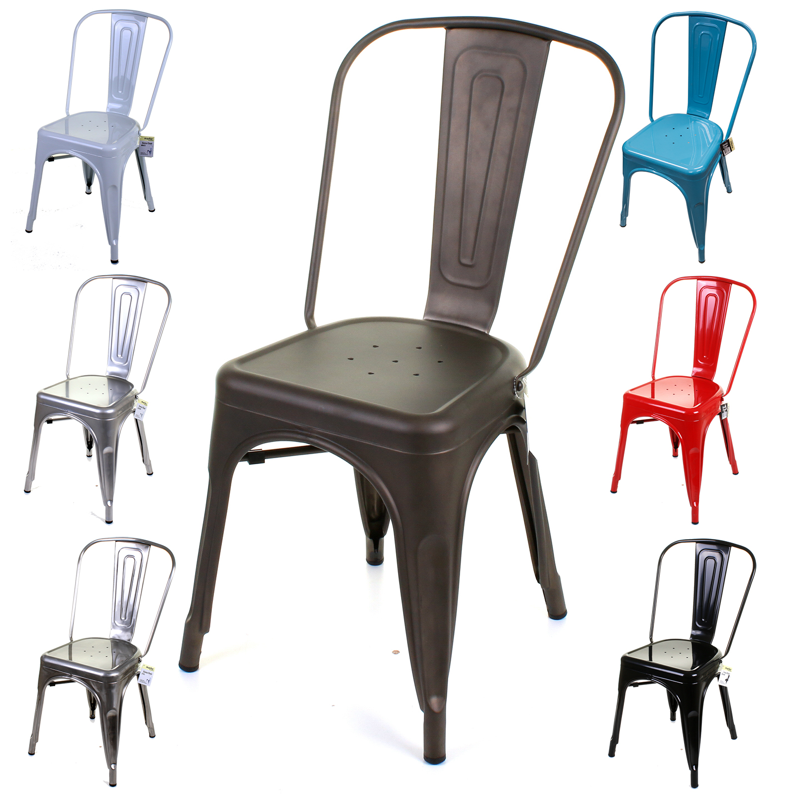 Metal Kitchen Chairs: Metal Dining Chair Stackable Industrial Vintage Style Seat