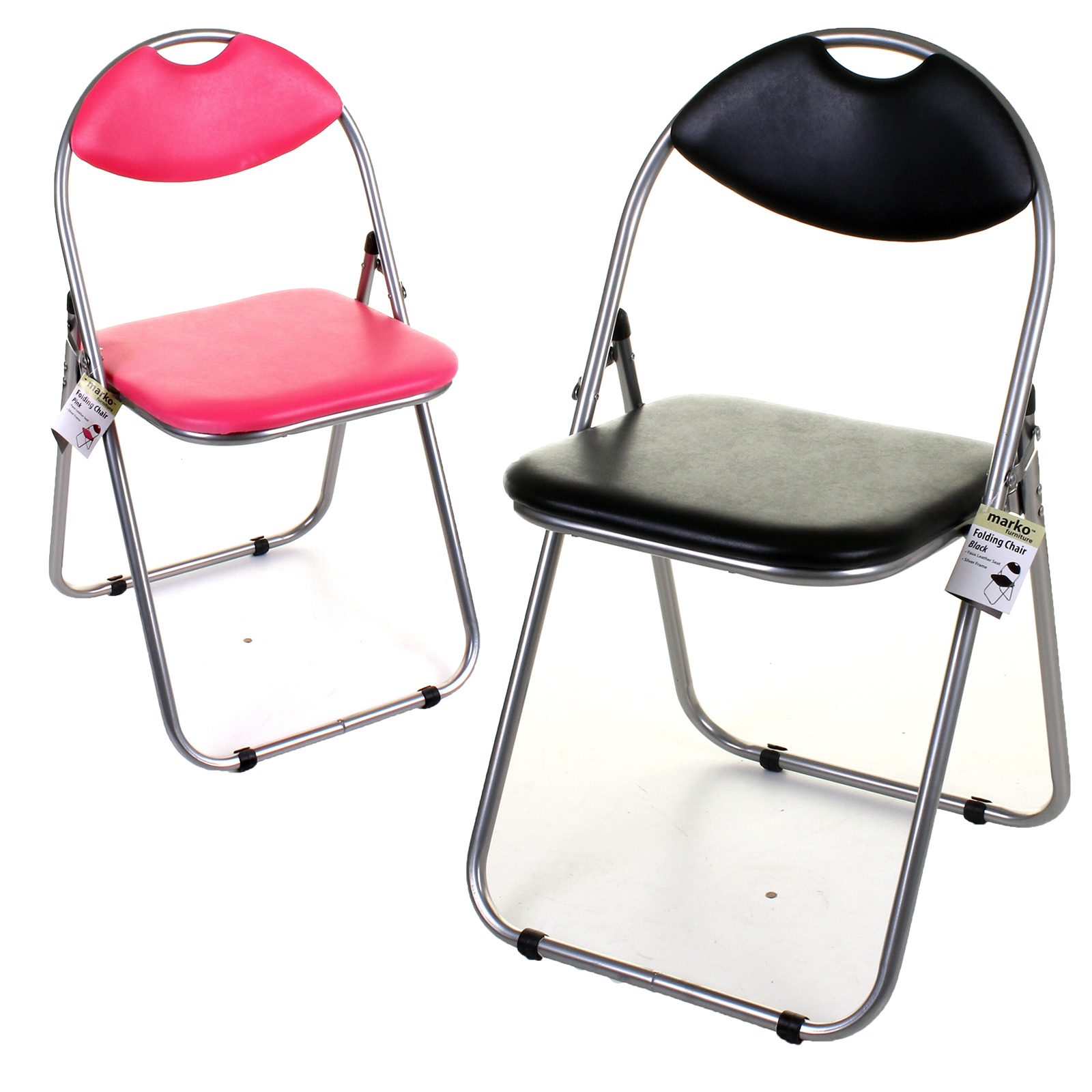 Folding Chair Faux Leather Padded Seat & Back Rest puter fice 4 Colo