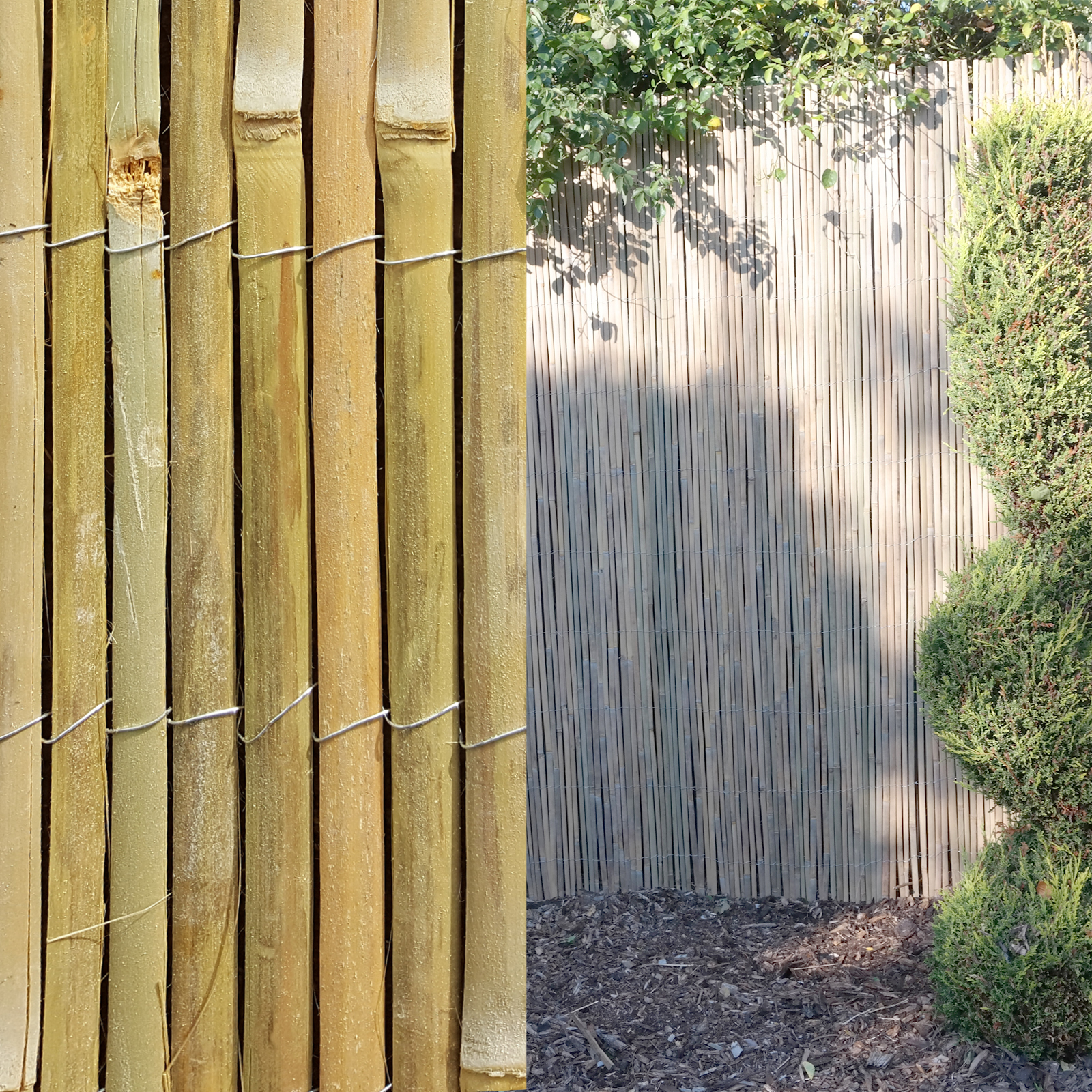 4m bamboo slat natural garden screening fencing fence Bamboo screens for outdoors