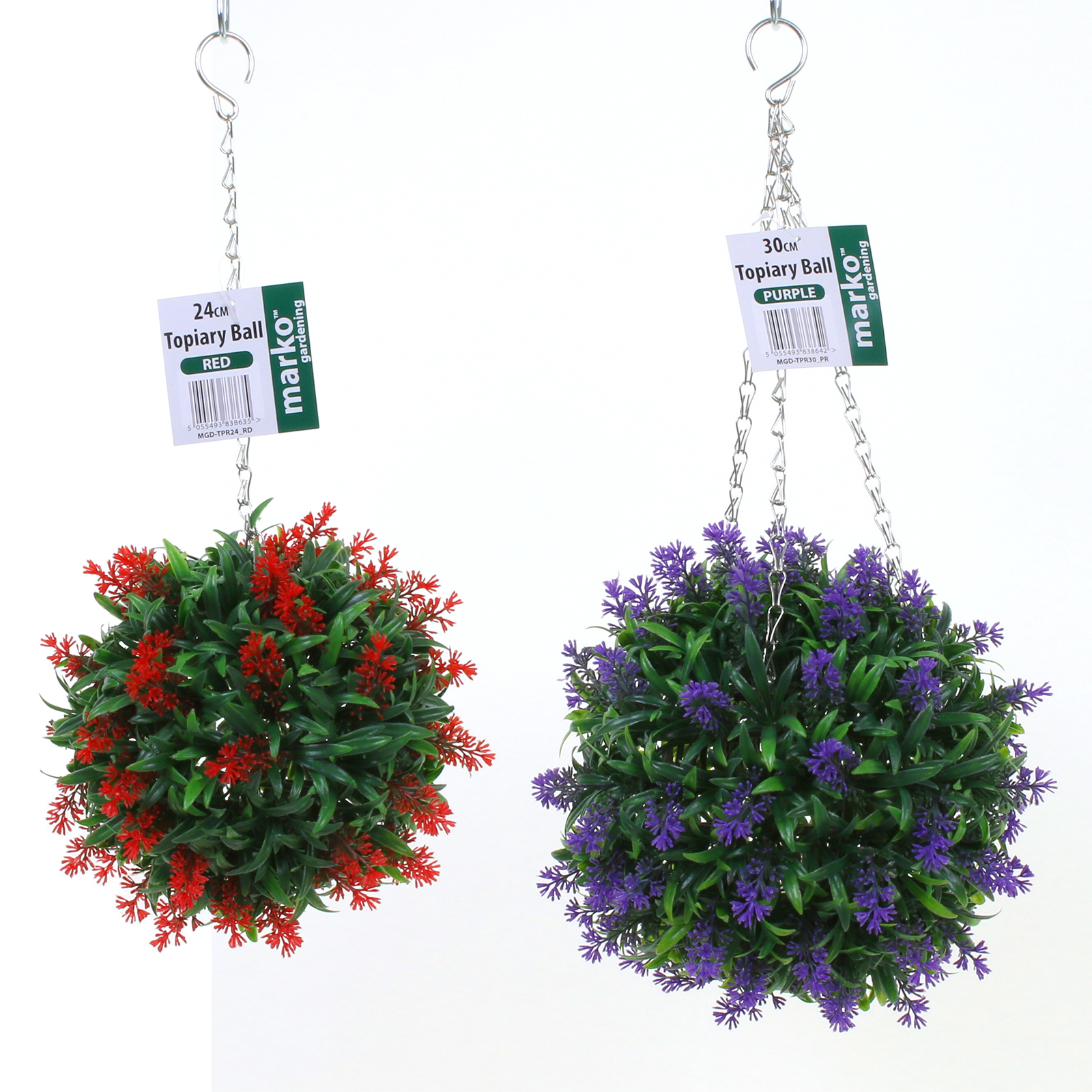 Plastic Hanging Baskets For Plants: Lavender Topiary Ball Buxus Artificial Flower Plant