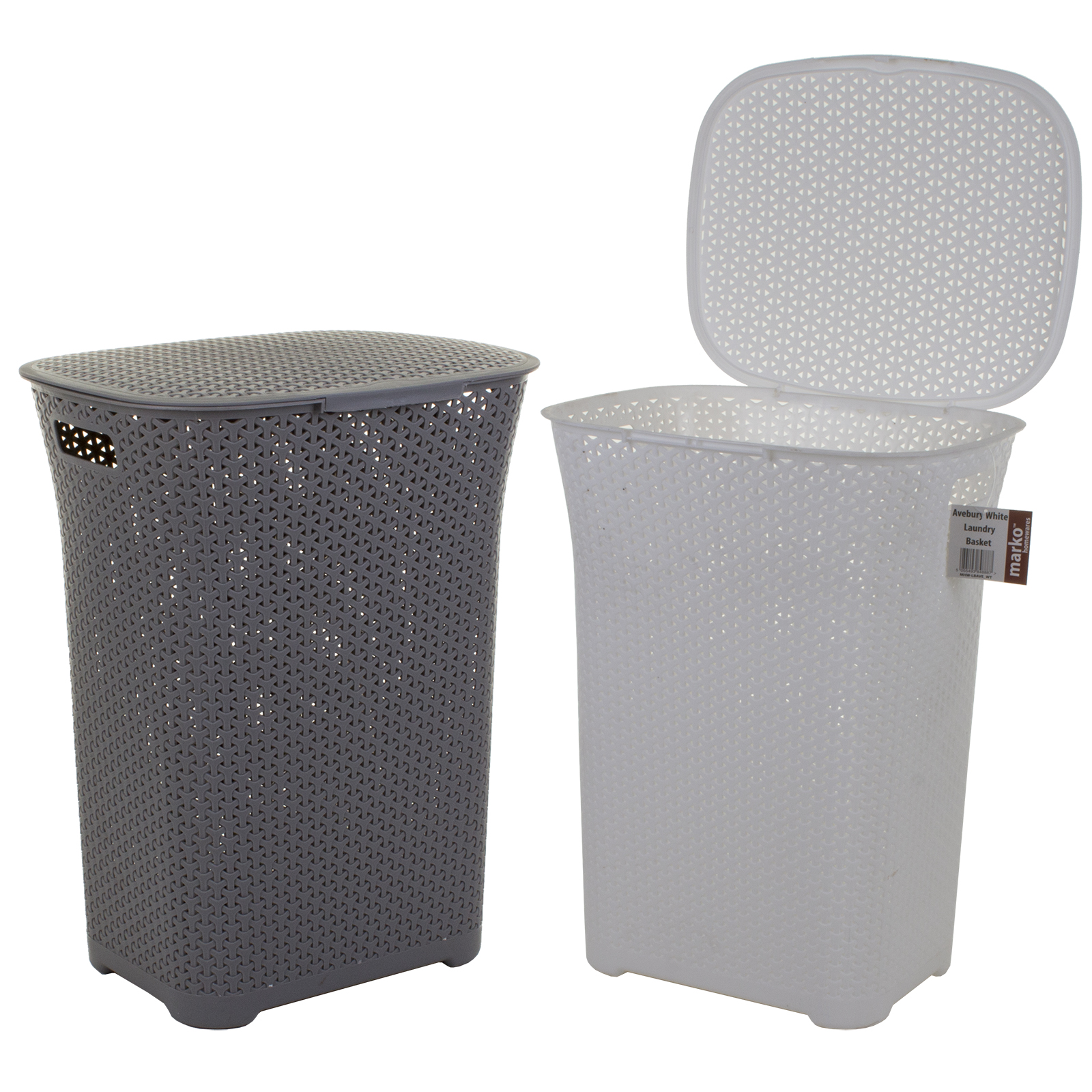 Plastic laundry basket clothes clothing washing hamper storage bin with clip lid - Plastic hamper with lid ...