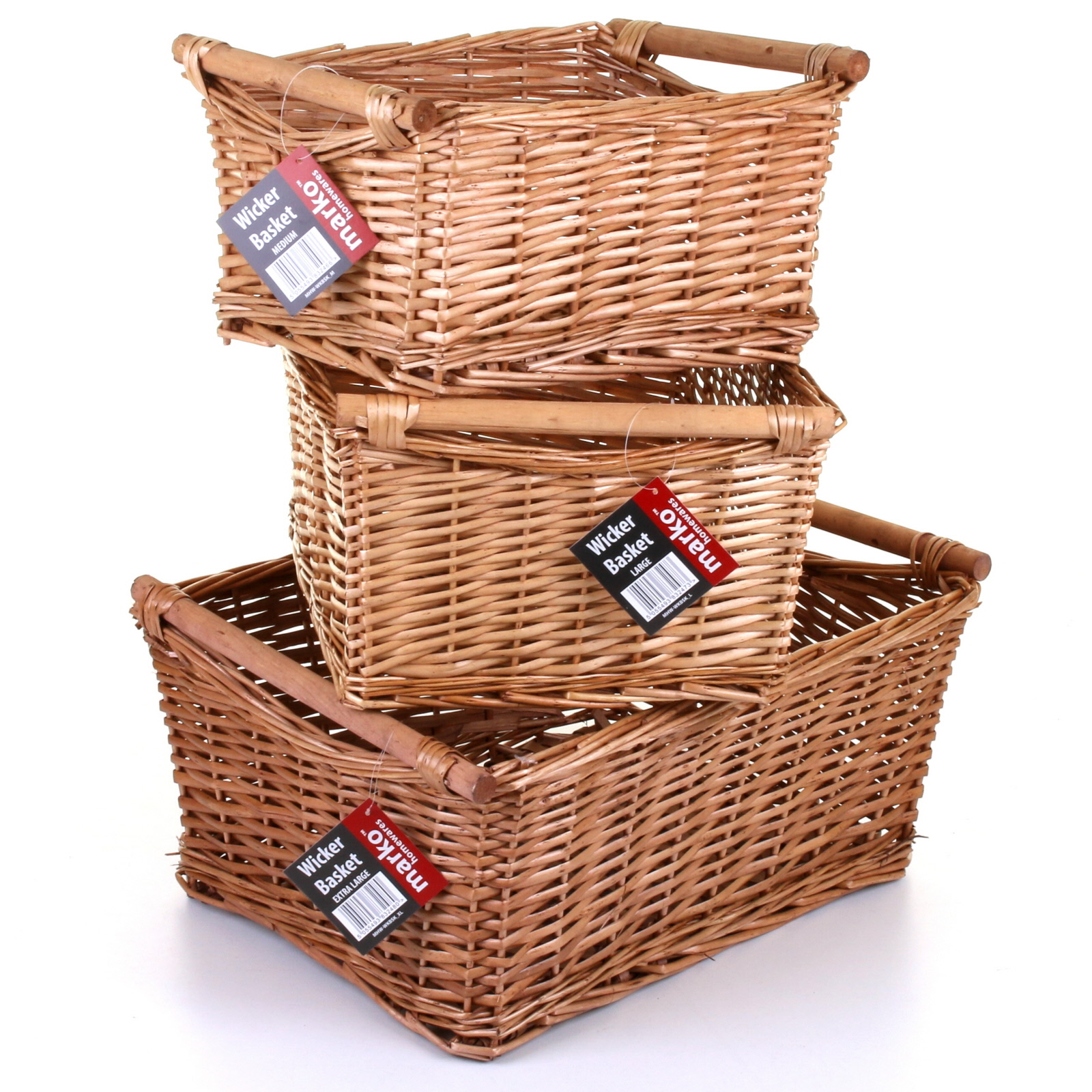 wicker storage baskets wooden handles christmas gift hamper basket set kitchen ebay. Black Bedroom Furniture Sets. Home Design Ideas