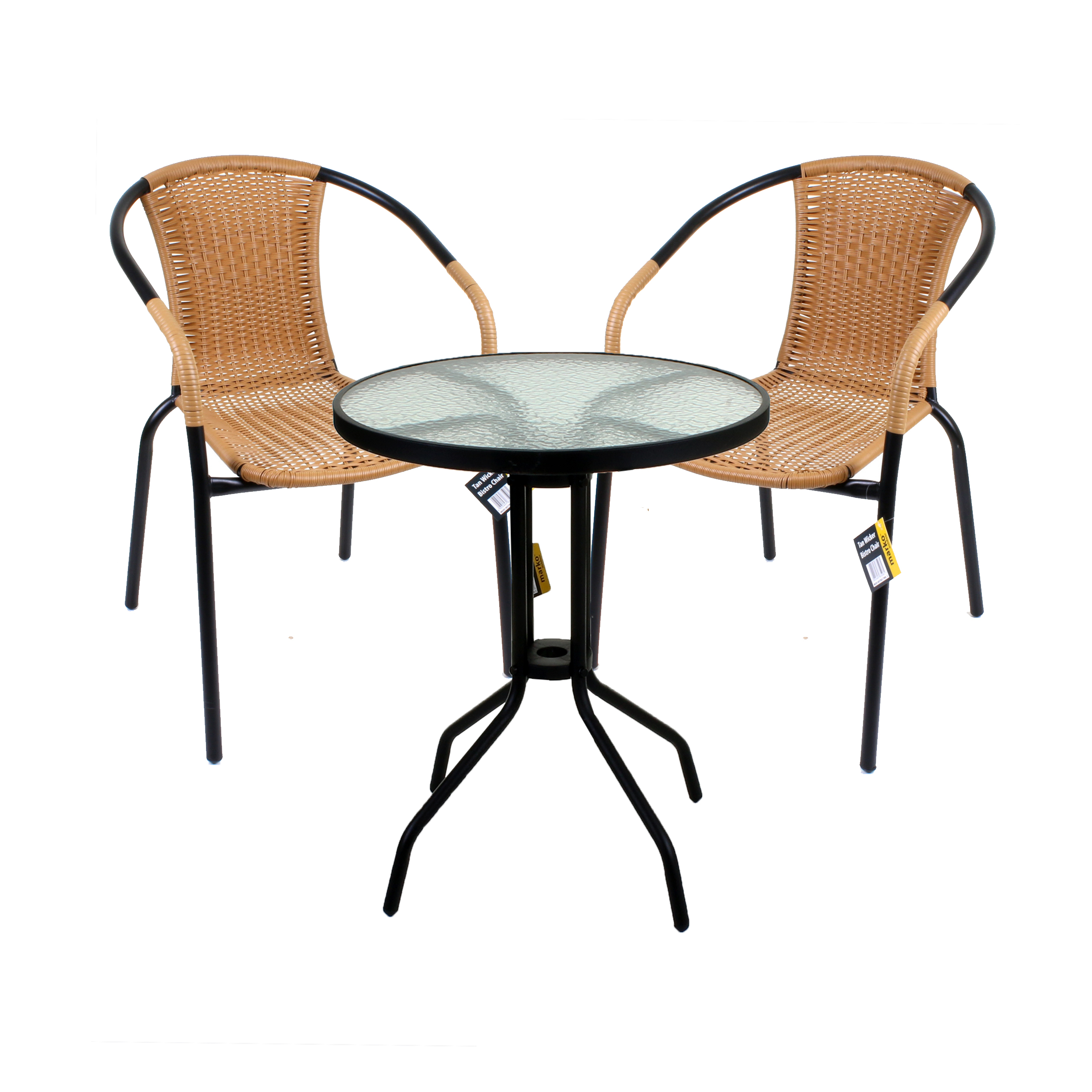 3 piece bistro set garden patio tan wicker rattan outdoor furniture table chairs ebay. Black Bedroom Furniture Sets. Home Design Ideas