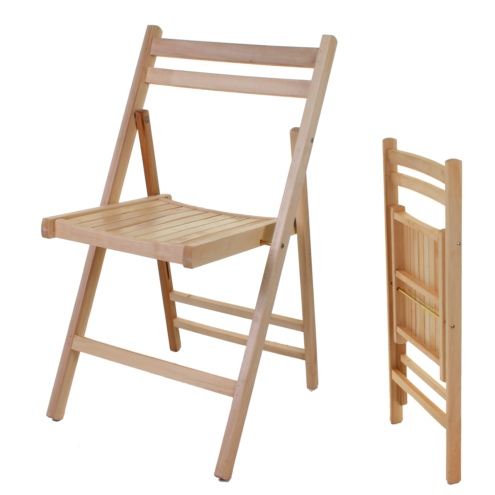 Wooden Folding Chair Indoor Outdoor Slatted Natural Dining Patio