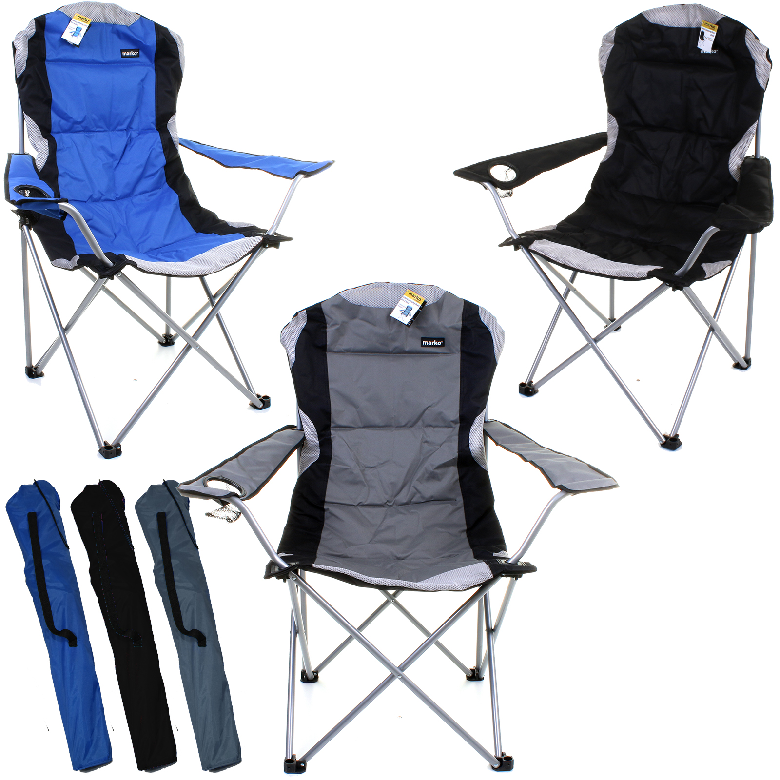 Heavy Duty Deluxe Padded Folding Steel Camping Chair Festival Directors Fishing