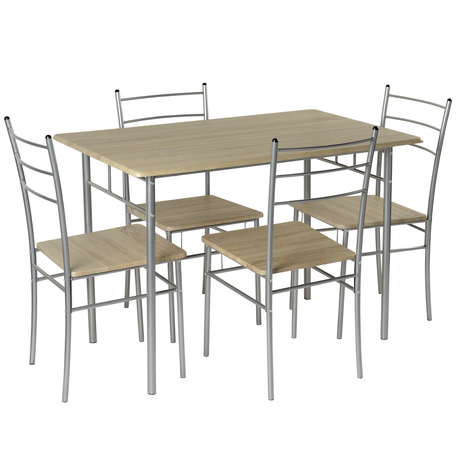 Dining table 4 chairs modern kitchen black silver 5pc breakfast bar chairs ebay - Silver dining table and chairs ...