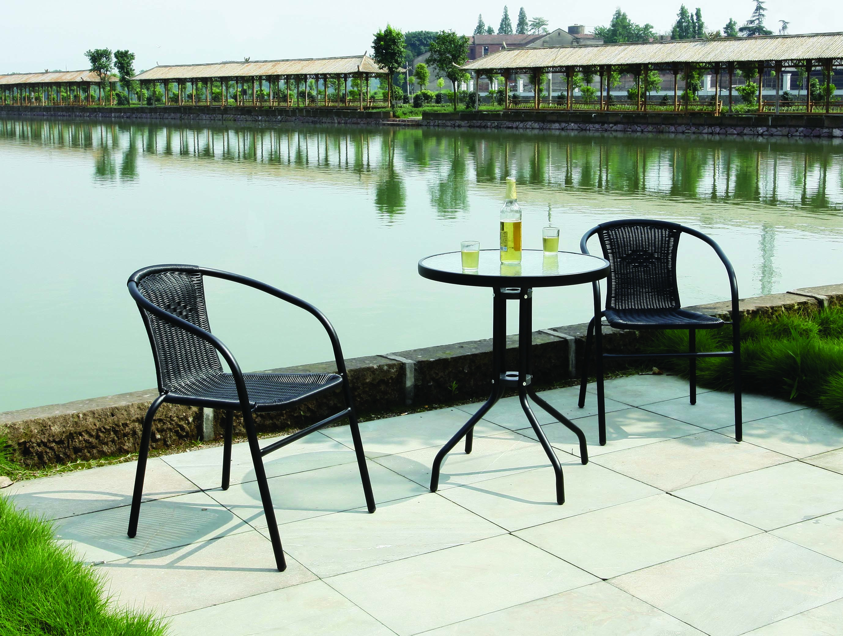Garden Patio All Weather Black Wicker 3 Piece Bistro Set Patio Outdoor Furnit
