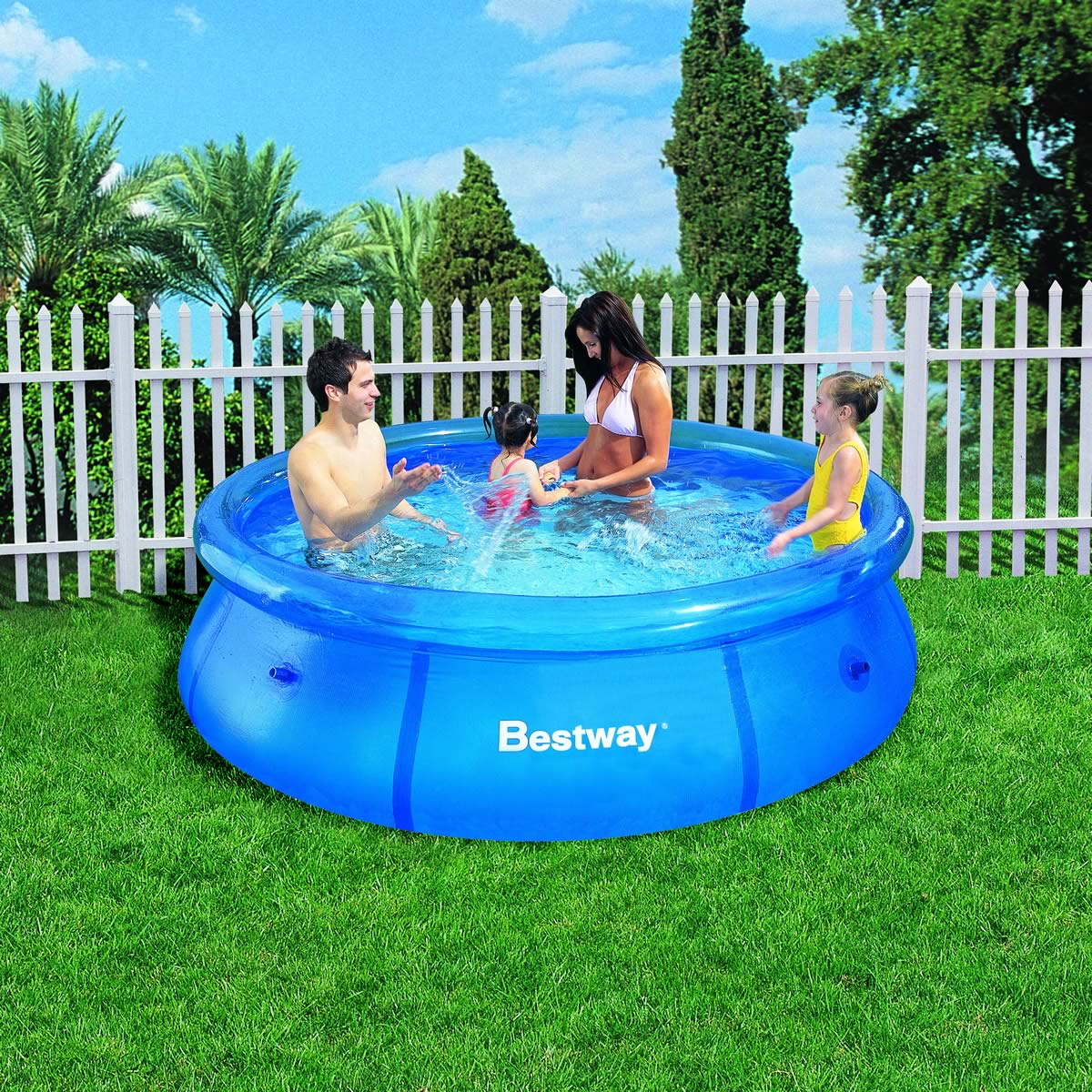 8ft fast set inflatable swimming pool garden outdoor paddling kids family water. Black Bedroom Furniture Sets. Home Design Ideas