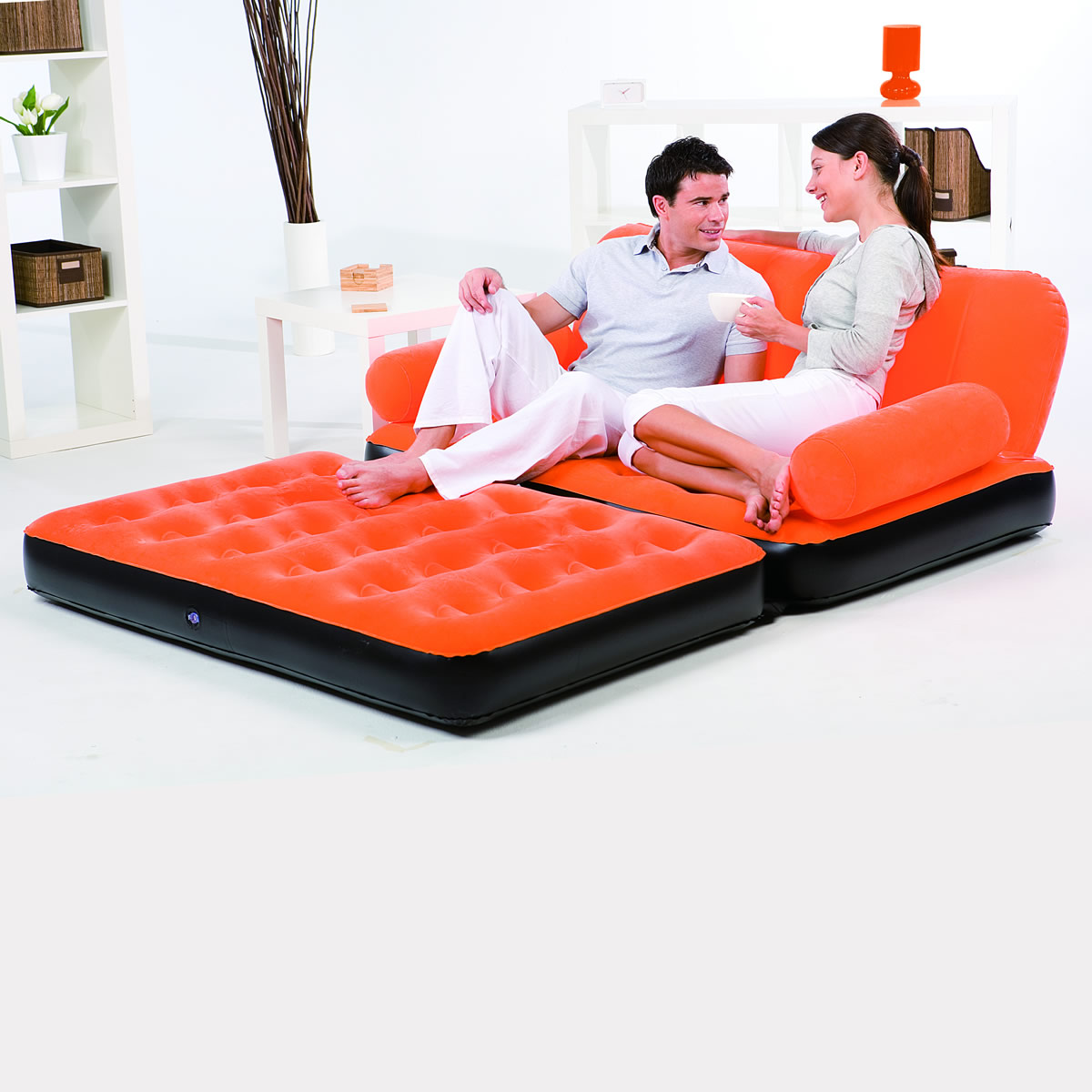 Double sofa air bed inflatable blow up couch furniture with air pump camping bed ebay Bed in a couch