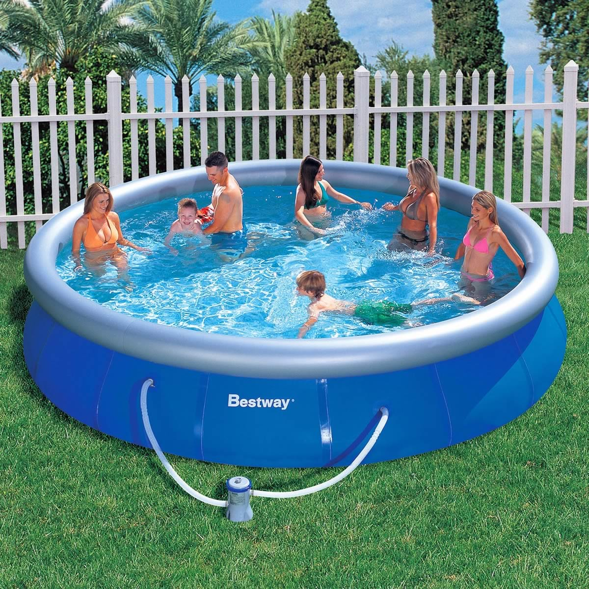 Outdoor inflatable swimming paddling pool garden family for Big swimming pools for gardens