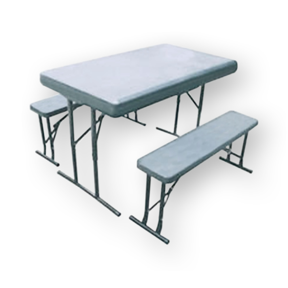 Seconds Outdoor 4 FT Table 2 Benches W Folding Legs Powder Coated Frame