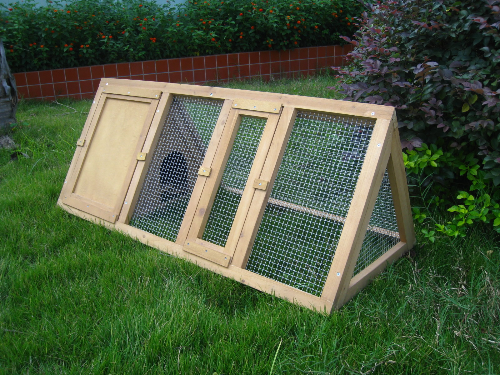 Wooden outdoor triangle rabbit hutch and run guinea pig for What is a rabbit hutch