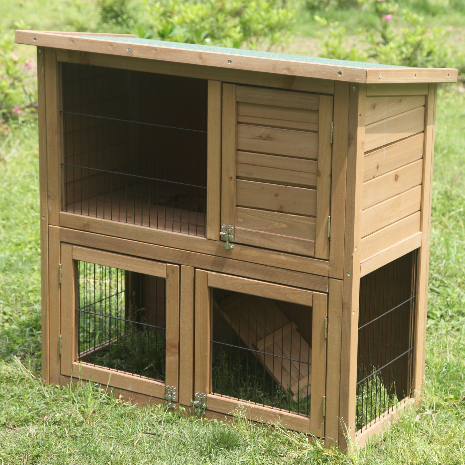 Large rabbit hutch wooden 2 tier pet cage house outdoor for 2 rabbit hutch
