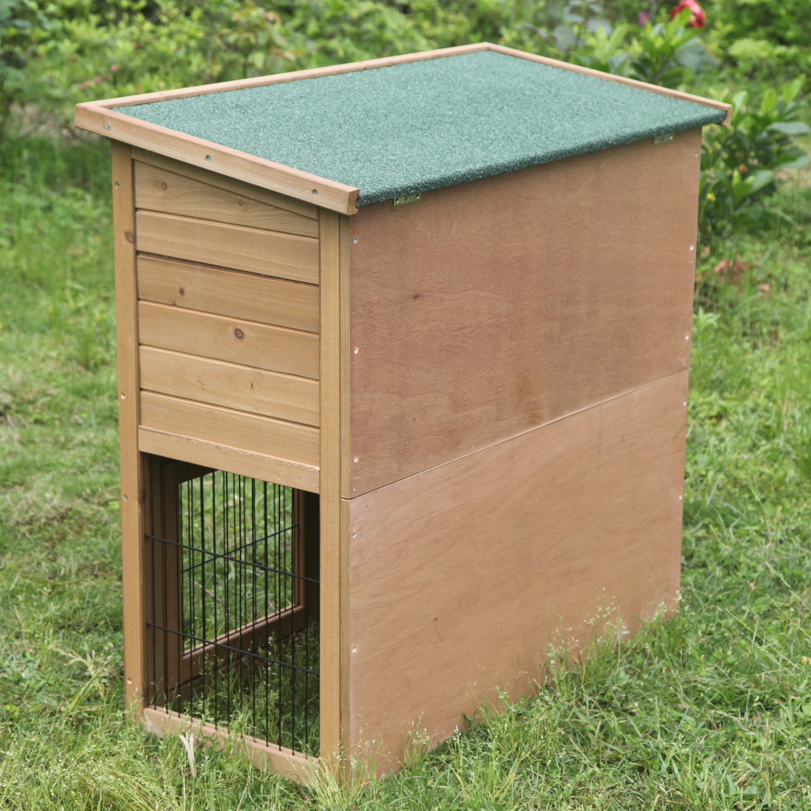 Large rabbit hutch wooden 2 tier pet cage house outdoor for Outdoor guinea pig hutch